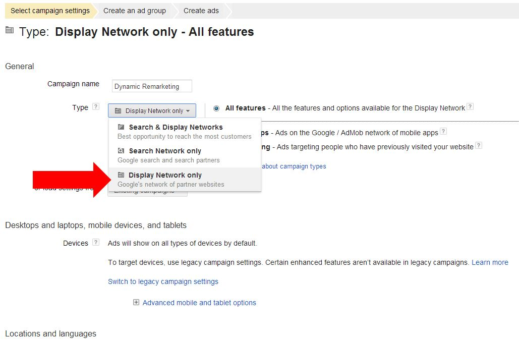 Dynamic Remarketing set up,display network only