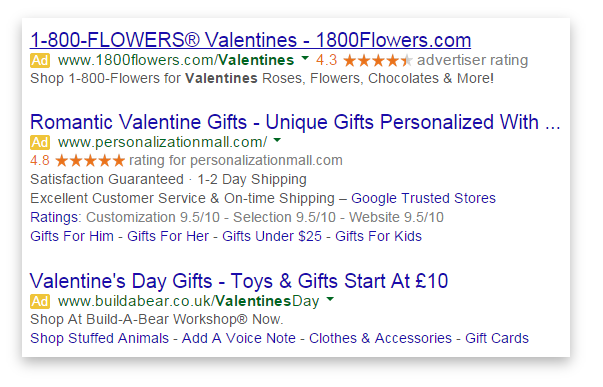 PPC Valentines tips for AdWords advertisers