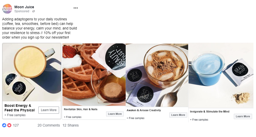 moon juice direct to consumer brand facebook ads